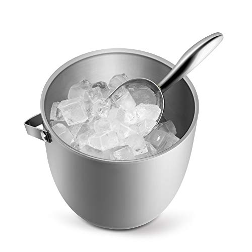 Fortune Candy Insulated Ice Bucket - Double Walled Stainless Steel Ice Bucket with Ice Tongs, Scoop, Lid, and Exclusive Handmade Nylon Holder - 2.8 L, Silver/Navy Blue
