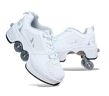 HUOQILIN Rollschuh Roller Skates Lauflernschuhe,Sneakers,2in1 Mehrzweckschuhe Schuhe Mit Rollen Skateboardschuhe,Inline-Skate,Verstellbare Quad-Rollschuh Stiefel Skateboardschuhe,White-39.5