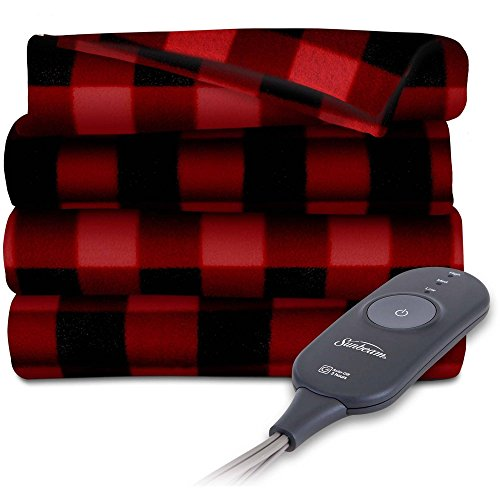 Sunbeam Heated Electric Throw Blanket Fleece Extra Soft, Red and Black Plaid (50 in. X 60 in.)
