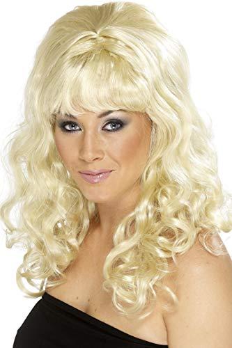 Smiffys, Beauty pruik voor dames, met krullen, one-size, blond, 42063
