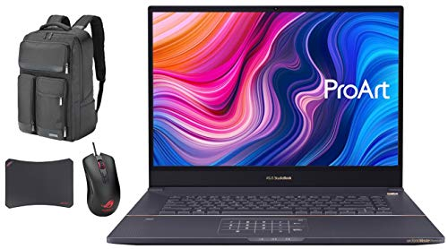 ASUS ProArt StudioBook Pro 17 W700G3T Workstation Laptop (Intel Xeon E-2276M 6-Core, 32GB RAM, 4TB PCIe SSD, NVIDIA Quadro RTX 3000 Max-Q, Win 10 Pro) with Atlas Backpack, Harrier GT300, GM50 Pad