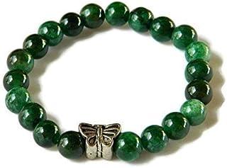 Bracciale elastico con palline di agata verde striata e farfallina