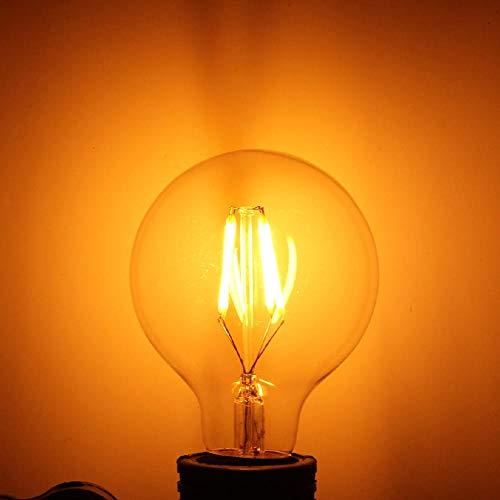 Bombilla espiral G27 Edison con filamento LED retro E27,vidrio transparente amarillo cálido de 2200K,iluminación de 360 grados,adecuada para la decoración del hogar o comercial,4 piezas-4W