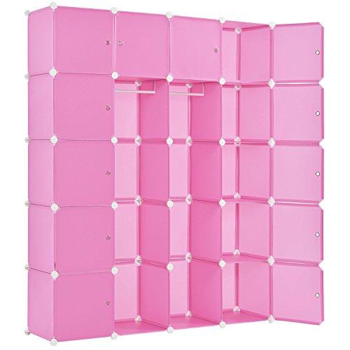 Juskys DIY Regalsystem aus 20 Boxen inkl. 2 Kleiderstangen   12 Fächer mit Tür   10 kg pro Box   Kunststoff   pink   Schrank Garderobe Garderobenschrank