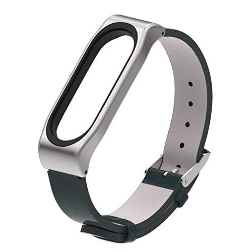 Ersatzarmband Ersatz für XIAOMI MI Band 4 Leder Armband Echtleder Gliederarmband Replacement Uhrenarmband Uhrband Lederarmband Ersatzarmbänder für XIAOMI MI Band 4 (Navy)