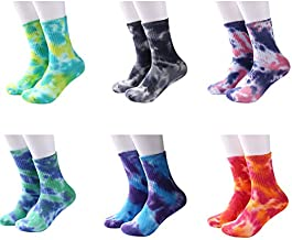 DREAM SLIM - A Collection of Funny Novelty Fashion Colorful Cool Crazy Skateboard Tie Dye Crew Dress Socks 6 Pack