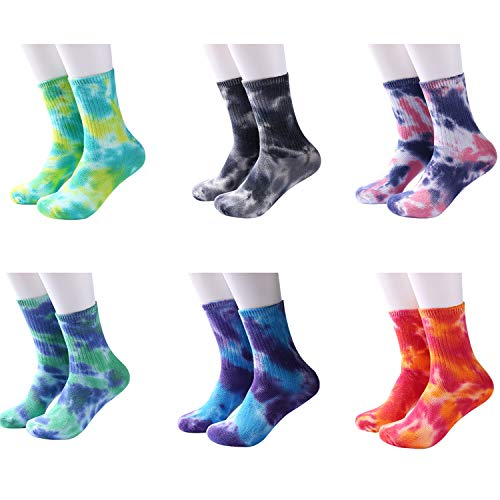 DREAM SLIM - A Collection of Funny Novelty Fashion Colorful Cool Crazy Skateboard Tie Dye Crew Dress Socks 5 Pack/6 Pack