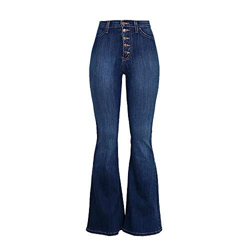 YWLINK Damen Einfach Einreihige Taste Jeans Elegant Breit Bein Hohe Taille Lange Hosen Klassisch Schlaghosen(M,Dunkelblau)