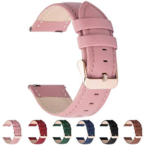 Fullmosa 6 Colores para Correa de Reloj, Cross Piel Correa Huawei Samsung Correa/Banda/Band/Pulsera/Strap de Recambio/Reemplazo 18mm 20mm 22mm 24mm,Rosada 24mm