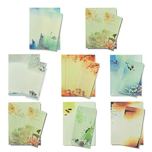 IGRMVIN Juego de Papeles y Sobres Vintage 32 Hojas Papel de Cartas de Estilo Chino 16 PCS Sobres Vintage Autoadhesivos Papel de Papelería de Escritura con 8 Temas Diferentes para Escribir Pintar
