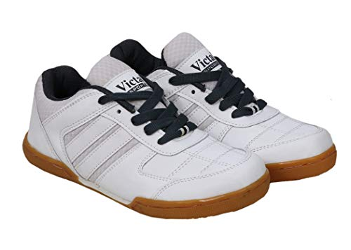 Victall Men's White Light Weight Comfortable PU Material Non-Marking Sole Badminton Shoes - 10