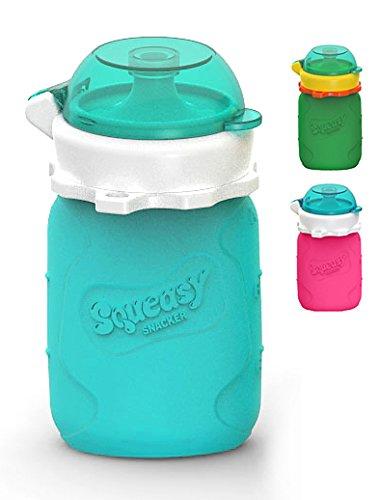MINI Squeasy Snacker - Wiederverwendbares Quetschie aus Silikon, 100ml, Quetschbeutel zum selbst befüllen, BPA-frei (Aqua)