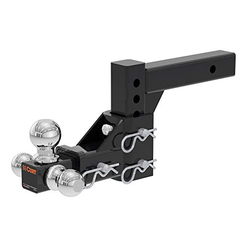 CURT 45799 Adjustable Trailer Hitch Ball Mount, Fits 2-Inch Receiver, 5-3/4-Inch Drop, 1-7/8, 2, 2-5/16-Inch Balls, 10,000 lbs