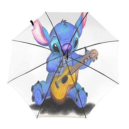 Kompakter Trifold Travel Anti-Uv-Regenschirm Mit Automatischem Öffnen/Schließen, Winddichter, Faltbarer, Leichter Sonnenschirm Im Freien, Lilo Stitch Gitarre