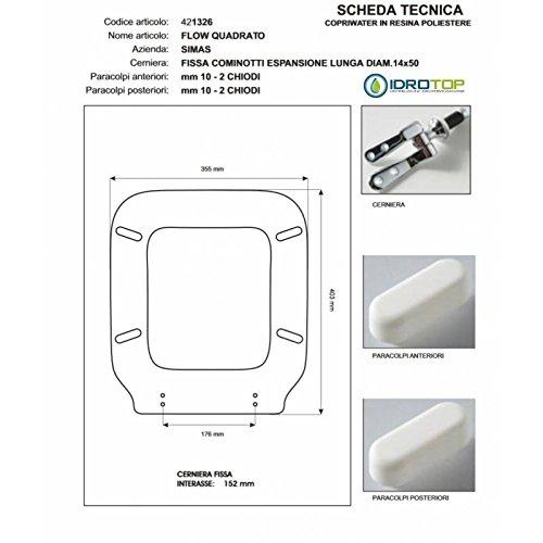 ACB/COLBAM Copriwater in Legno Rivestito di Poliestere per Simas Flow Quadrato Bianco Cerniera Rallentata Soft Close Cromo-Sedile-ASSE WC