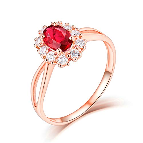 AnazoZ Anillo Mujer Plata Rubi,Anillo de Oro Rosa 18 Kilates Oro Rosa y Rojo Oval Rubí Rojo 0.55ct Diamante 0.23ct Talla 18,5