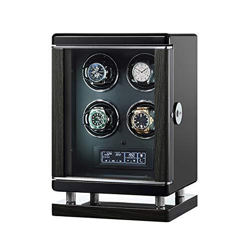 Oksmsa Lujo 4 Piezas Cajas Giratorias for Relojes Automatico con Cubrir, Motor Silencioso Y Adaptador De Corriente, Huella Dactilar Desbloquear con Remoto Ajuste, Negro