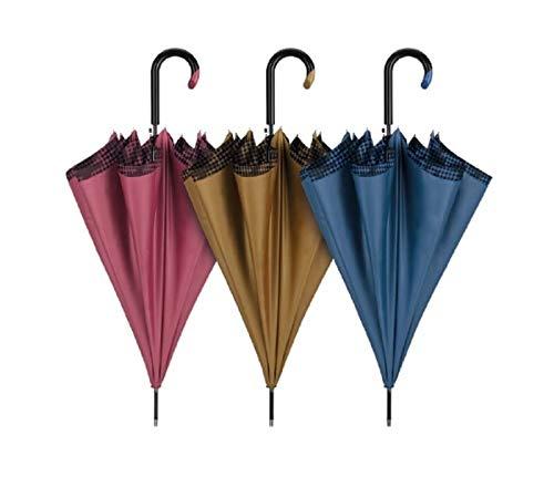 Paraguas de Mujer Cacharel, antiviento, automático con Doble Tela. Exterior en Tres Colores Lisos, Interior con Estampado Pata Gallo