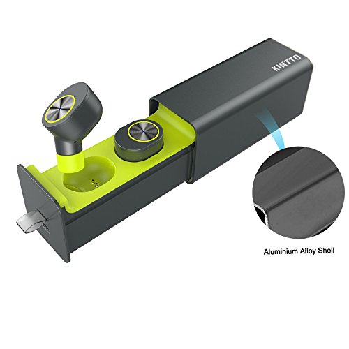 True Wireless Earbuds, KINTTO Car Bluetooth Headphone, Mini Cordless Hands-free Bluetooth Headset Built In Mic, In-Ear Phone Headset with Charging Case for 12 Hours of Duration (green)