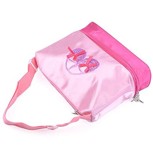 Eruditter Bolsa de Maquillaje Pink Princess Ballet Latin Dance Tote Bag para Niñas Bailarina Adolescente Bailarina con Compartimiento Doble y Bolsas Ajustables