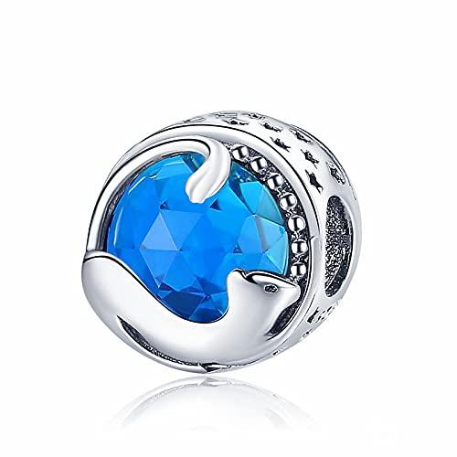 LIJIAN DIY 925 Sterling Jewelry Charm Beads Playing Kitten Cat Blue Hacer Originales Pandora Collares Pulseras Y Tobilleras Regalos para Mujeres