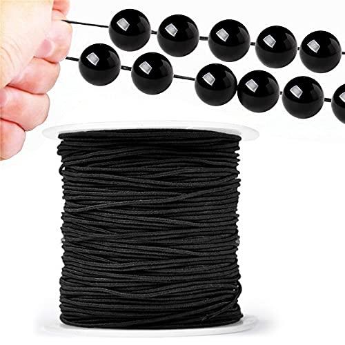 100m Hilo Elastico para joyería, Cuerda Cordón Elástico de 1 mm para Pulseras Joyería Collar DIY - Negro