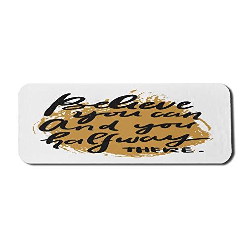 Sprichwort Computer Mouse Pad, Fitness Wörter Kalligraphie glauben thematische Nachricht auf Grunge-Effekt Hintergrund, Rechteck rutschfeste Gummi Mousepad große blasse Kaffee grau