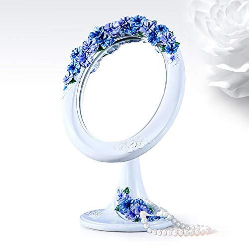 XFSE Espejo para maquillarse Lindo Patrón Vertical Azul/Rosa 180 Resina rotativa + Lente de Vidrio + Hebilla de Hierro Elíptica Maquillaje Espejo (Color : Blue)