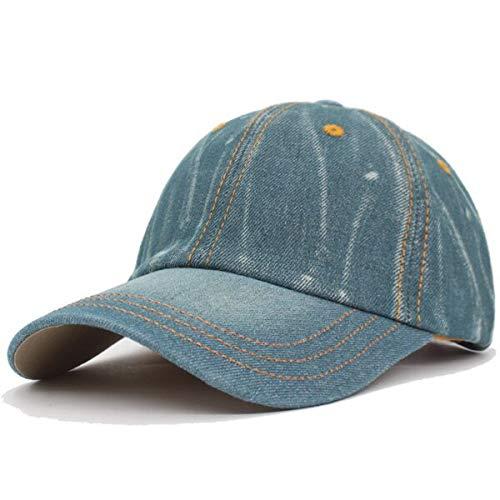 GMZXX baseballpet voor dames en heren, casual, gewassen, jeans, denim met wit bot