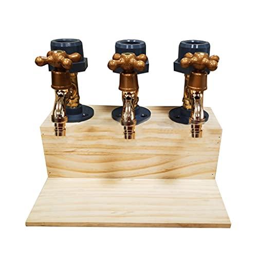 Dispensador de vino con base de madera individual, doble/tres grifos, decantador de whisky, licor y alcohol, whisky, dispensador de madera para el día del padre, cenas, bares y estaciones de bebidas