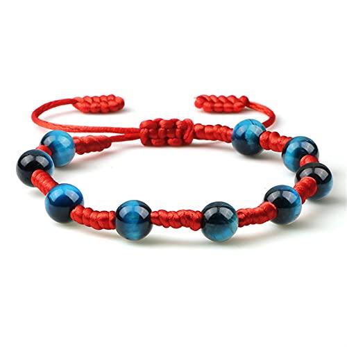 Pulsera de cuentas Pulseras azules de la moda de piedra natural Redondo con cuentas a mano de cuerda trenzada Hombres Mujeres Pulsera Joyería ajustable Elegante y hermosa ( Metal Color : Red rope )