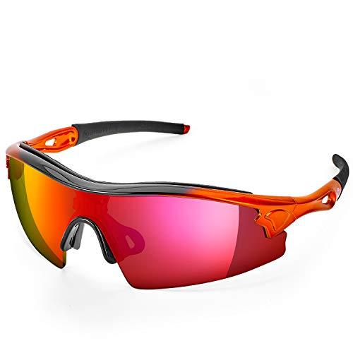 ToolFreak Reevo Schutzbrille für Arbeit und Sport, Rote Spiegellinse, Antiblendung, UV- und Schlagschutz, Eingebaute Sicherheitsbewertung nach EN166FT