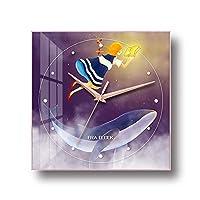 YIBOKANG ライトラグジュアリーシンプルな漫画クジラクリスタル中国絵画サイレント時計子供部屋寝室のホテル絵画装飾品モダンなクリエイティブウォッチ (Color : A, サイズ : 35cm)