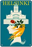 Helsinki Poster Metall Blechschilder Retro Dekoration