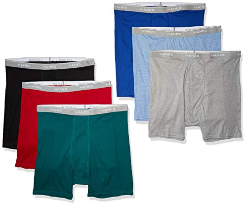 Hanes Men's Tagless Exposed Waistband Boxer Briefs, Assorted, Large