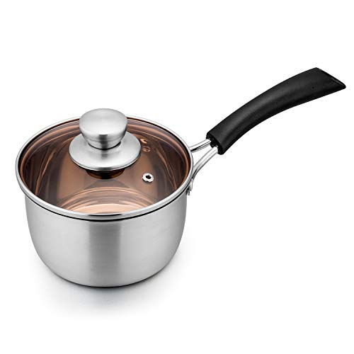 TeamFar 1qt Saucepan, Stainless Steel Sauce Pan with Lid, Milk Pan Cookware Professional with Long Heatproof Handle, Non Toxic & Healthy, Rust Free & Dishwasher Safe
