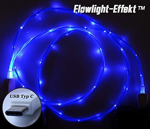 LifeShift Ladekabel Datenkabel Leuchtend fließende LED Optik USB Typ C für Android Smartphones und Tablets USB-C 1m (blau)