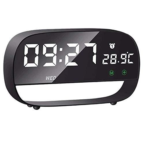 Bedside Clock Alarmklocker8B Digitale wekker met touch-bediening, 5 minuten, snooze-functie, eenvoudig te instellen op led-spiegel, wekker, klassiek zwart katoen zwart