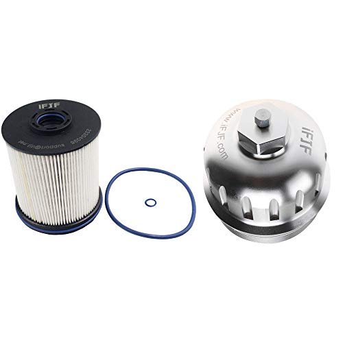 iFJF TP1015 Fuel Filter and 134001 Housing Cap Replacement for Duramax 6.6L 2017-2020 Chevy Silverado/GMC Sierra 2500HD 3500HD L5P Diesel Engine(Silver Cap)