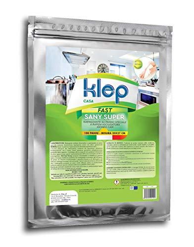 KLEP – Paños Sany Super Professional, limpiadores, desinfectantes, higienizantes, sobre un paño especial para la limpieza de todas las superficies. Paquete de 100 paños.