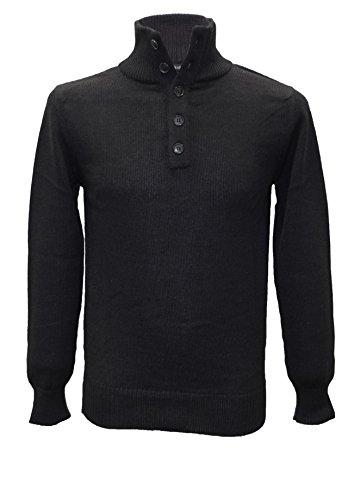 Posh Gear Herren Stehkragen Pullover Lupetto aus 100% Alpakawolle, schwarz, Größe XXL