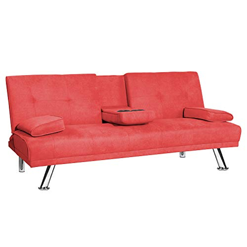 Recaceik Futon Couch Convertible Sofa Bed for Living Room,Love Seat Sleeper Sofa,2 Cupholders (Red)