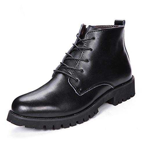 Cicongzai Botas Chelsea para hombre, de piel auténtica, forro polar, con cordones, tacón bajo, punta redonda, color negro, talla: 37 EU)
