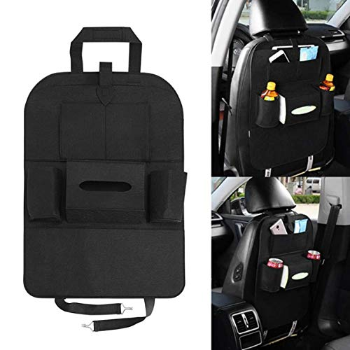 Allaind 2 Pack Backseat Car Organizer, Muti-Pocket Back Seat Storage Bag with Touch Screen Tablet Holder, Car Seat Back Protectors Great Universal Travel Accessories (Black)
