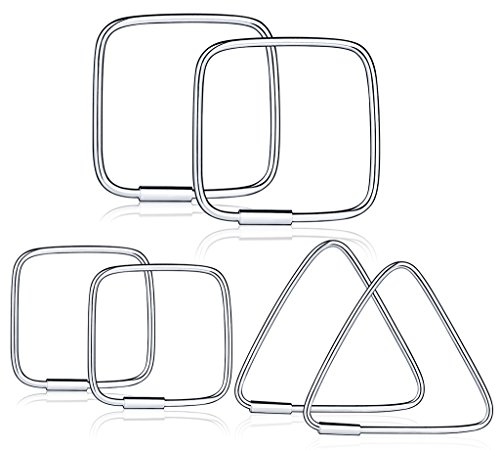 Infinite U Women's Girl's Studs Earrings 925 Sterling Silver Triangle/Square Shaped Hoop Earring Set Creole, gift for Birthday and christmas, 3 Pairs