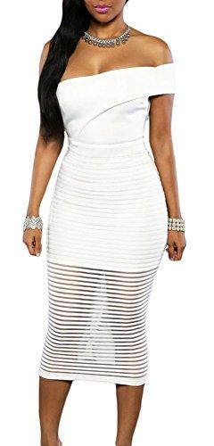 made2envy One Shoulder Sheer Striped Midi Dress (M, White) LC60937MW