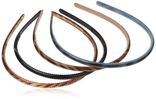 Scunci Effortless Beauty Skinny Plastic Headbands, Assorted Colors, 4-Count