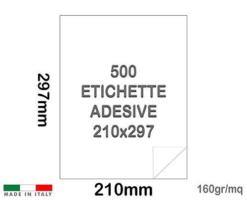 Palucart Etichette adesive carta vellum 160 gr formato a4 etichette multiuso 500 fogli intero autoadesivo permanente per stampanti 1 etichetta per foglio