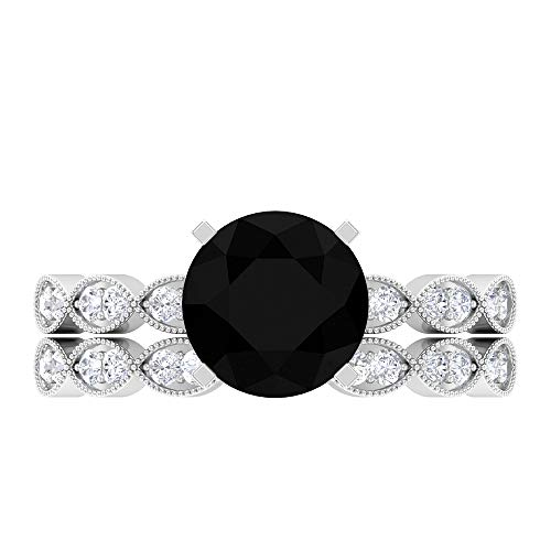 8 MM Black Onyx Ring, D-VSSI Moissanite Eternity Band Ring, Solitaire Ring with Side Stones, Gold Bridal Ring Set (AAAA Quality), 18K White Gold, Size:UK W