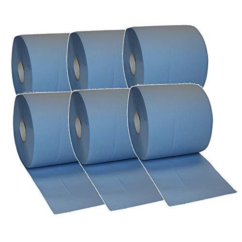 6x Putztuchrolle Papier Putztuch Papiertuch Putzpapier Rolle blau 2 lagig Putzrolle extrem nassfest